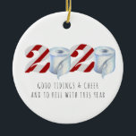 """Quarantine Christmas   Funny 2020 Commemorative Ceramic Ornament<br><div class=""""desc"""">A great way to remember the year 2020 when the planet quarantined together. Personalize the back with your name or add your own family photo. Add your custom wording to this design by using the """"Edit this design template"""" boxes on the right hand side of the item, or click the...</div>"""