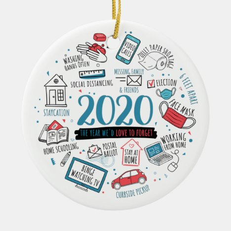 Quarantine Christmas Funny 2020 Commemorative Ceramic Ornament