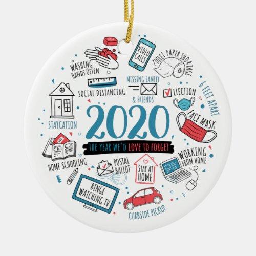 Quarantine Christmas Funny 2020 Commemorative Ceramic Ornament
