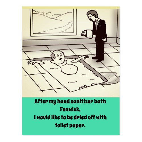 QUARANTINE RICH GUY HUMOR by Slipperywindow Postcard