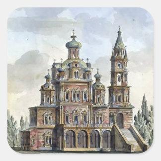 Quarenghi-Iglesia de Giacomo de la suposición en Calcomanías Cuadradass Personalizadas