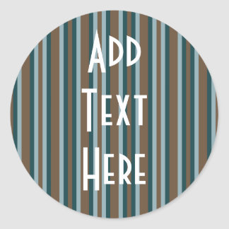 Quarry Teal Mod Alternating Stripes Classic Round Sticker