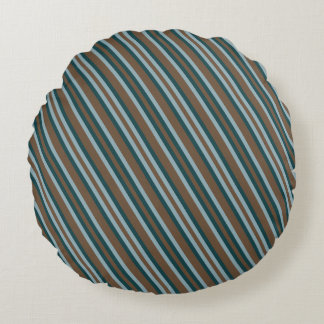 Quarry Teal Mod Alternating Stripes Round Pillow