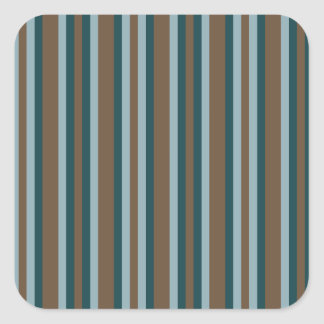 Quarry Teal Mod Alternating Stripes Square Sticker