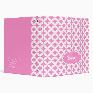 Quarter circle patterned pink white name folder