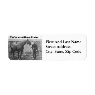 Quarter Horse and Horse Trader Vintage Photo Label