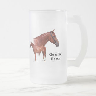 Quarter Horse Frosted Glass Beer Mug
