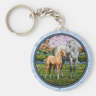 Quarter Horse Mare and Foal Blue Basic Round Button Keychain