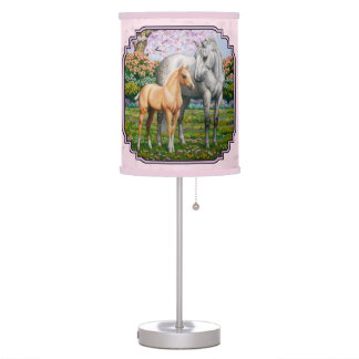 Quarter Horse Mare and Foal Pink Desk Lamp