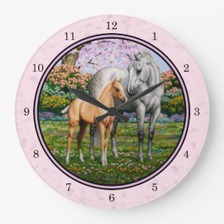 Quarter Horse Mare and Foal Pink Large Clock