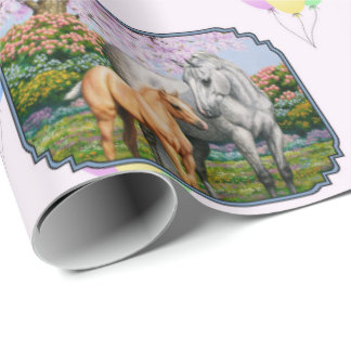 Quarter Horse Mare and Foal Pink Wrapping Paper