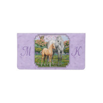 Quarter Horse Mare and Foal Purple Checkbook Cover
