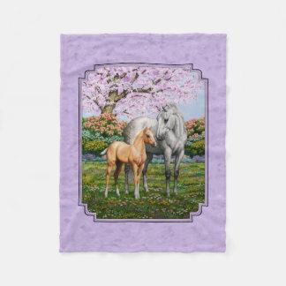 Quarter Horse Mare and Foal Purple Fleece Blanket