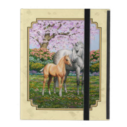 Quarter Horse Mare and Foal Yellow iPad Case