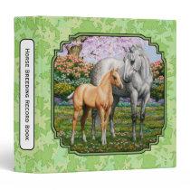 Quarter Horse Mare & Foal Green Leaves Binder