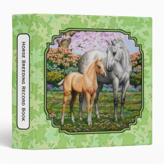 Quarter Horse Mare & Foal Green Leaves 3 Ring Binders