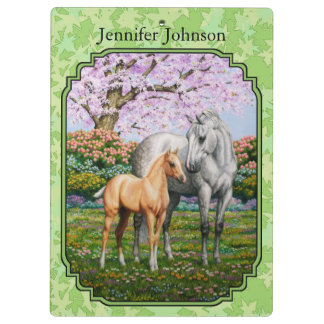 Quarter Horse Mare & Foal Green Leaves Clipboard