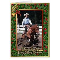 Quarter Horse Reining Blank Christmas Card