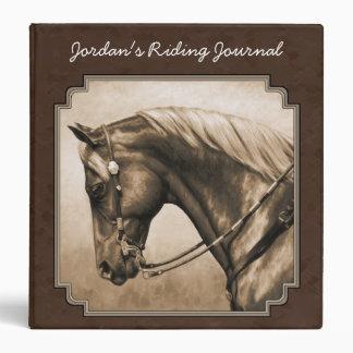 Quarter Horse Sepia Square Border Brown Binder