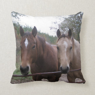 Quarter Horses Standing by the Gate Throw Pillow