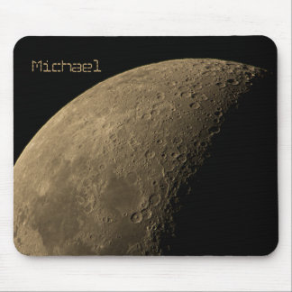 Quarter Moon with Highly Visible Craters Mouse Pad
