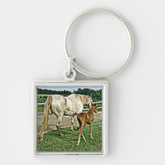 Quarter Pony Mare and Foal Art Gifts Keychains