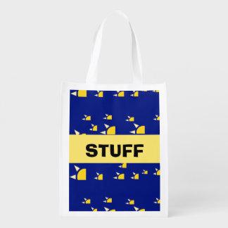 Quarter sun navy blue yellow pattern reusable grocery bags