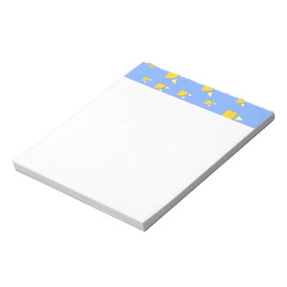 Quarter sun pale blue yellow pattern notepad