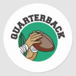 Quarterback Football Classic Round Sticker