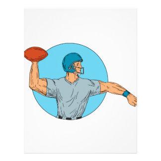 Quarterback QB Throwing Ball Motion Circle Drawing Letterhead