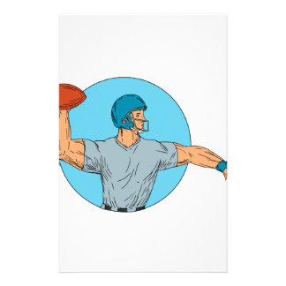 Quarterback QB Throwing Ball Motion Circle Drawing Stationery