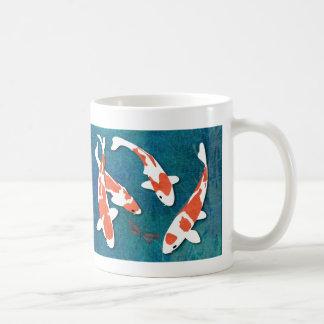 Quartet of Orange & White Kohaku Koi Classic White Coffee Mug