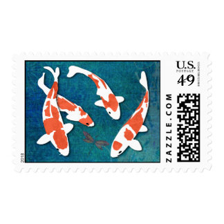 Quartet of Orange & White Kohaku Koi Postage