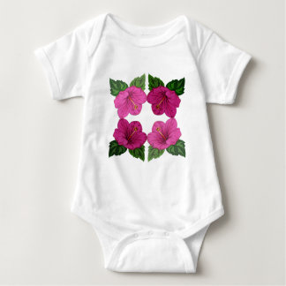 Quartet of Pink Hibiscus Blooms Baby Bodysuit