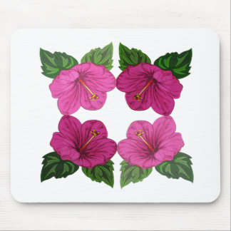 Quartet of Pink Hibiscus Blooms Mouse Pad