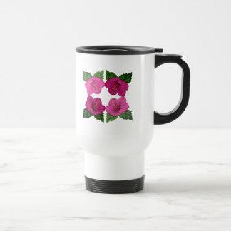Quartet of Pink Hibiscus Blooms Travel Mug