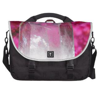 Quartz Crystal and Pink Flowers Laptop Commuter Bag