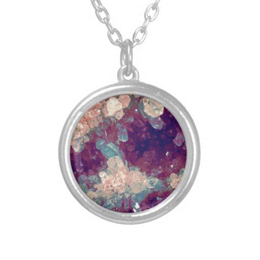 quartz crystal gem cluster round pendant necklace