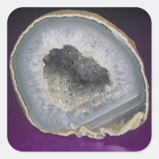 Quartz Geode Cut Open Square Stickers