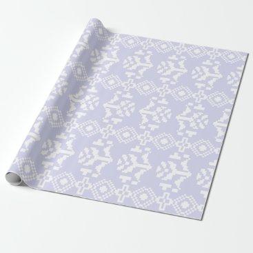 Aztec Themed Quartz & White Aztec Floral Stripes Wrapping Paper
