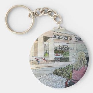 Quasi-Oriental Rock Garden Basic Round Button Keychain