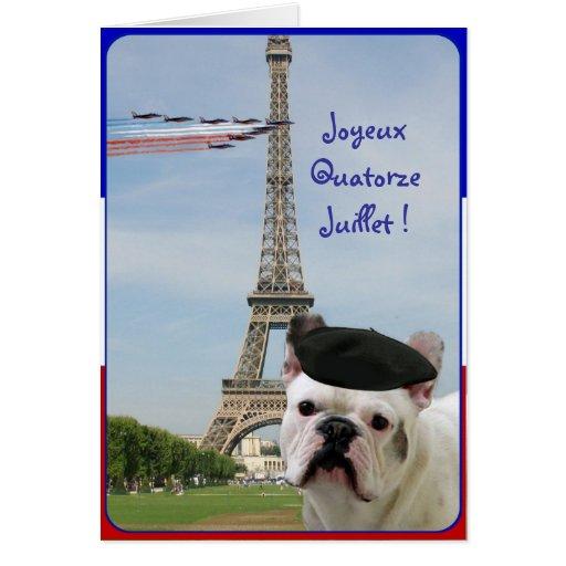 Quatorze Juillet French Bulldog greeting card