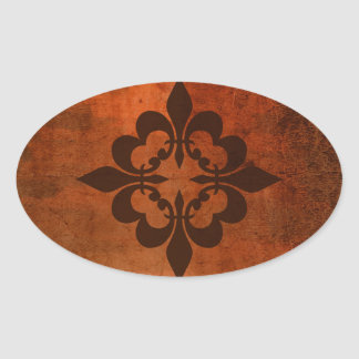 Quatre Fleur de Lis Oval Sticker