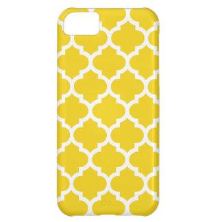 Quatrefoil amarillo limón funda para iPhone 5C