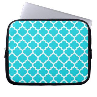Quatrefoil Aqua Laptop Computer Sleeves