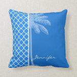 Quatrefoil azul azul; Palma del verano Almohada