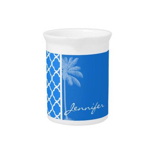 Quatrefoil azul azul; Palma del verano Jarras De Beber