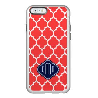 Quatrefoil azul de Monogramed y rojo coral blanco Funda Para iPhone 6 Plus Incipio Feather Shine
