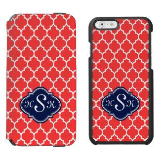 Quatrefoil azul del monograma y rojo coral blanco funda billetera para iPhone 6 watson