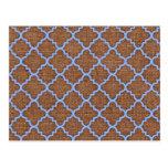 Quatrefoil azul en la arpillera rústica - moda lam postales